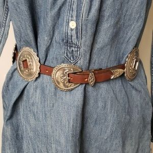 Brighton 1994 Concho Leather Western Belt Sz S